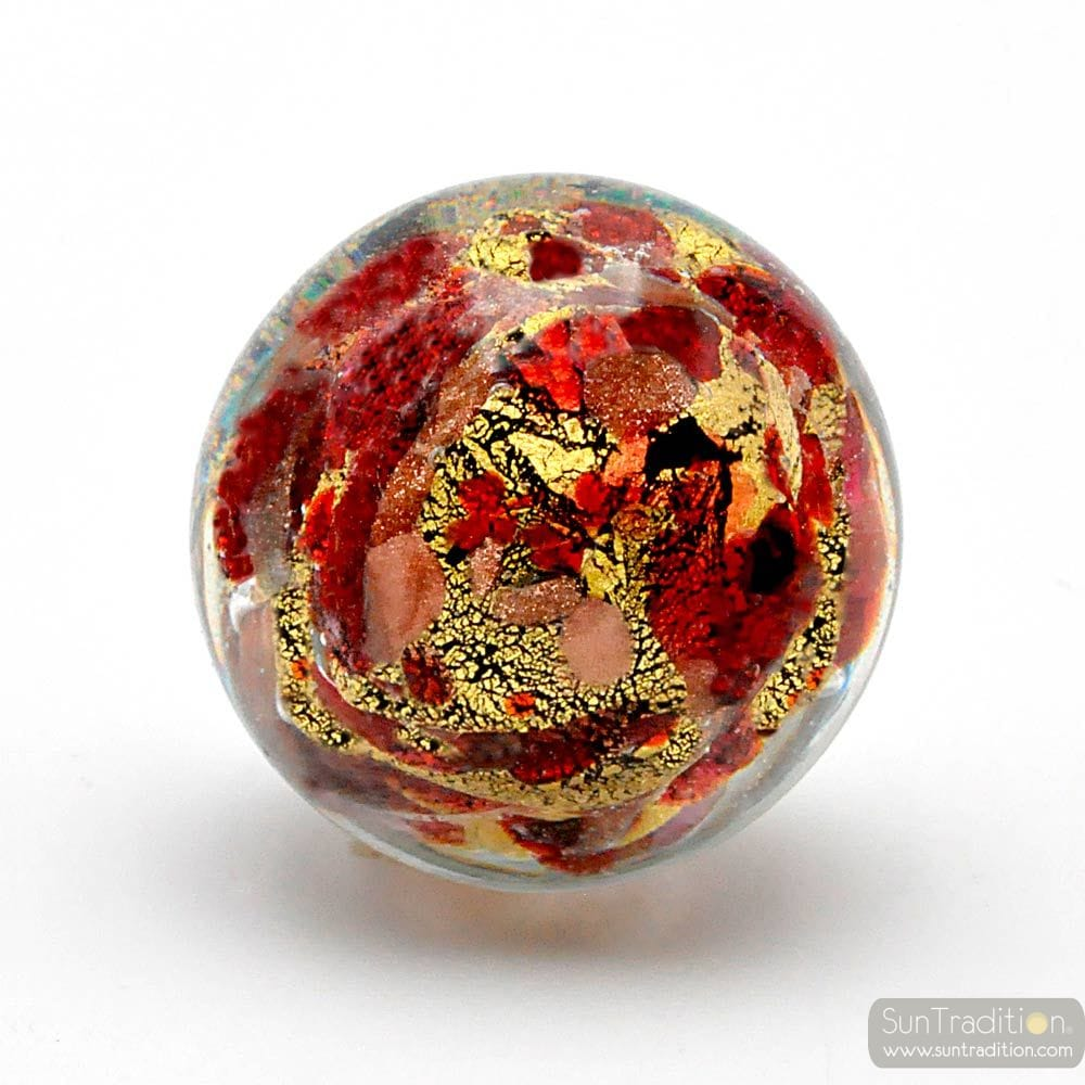 RED AND GOLD BUTTONS DRAWER AND CUPBOARDS MURANO GLASS