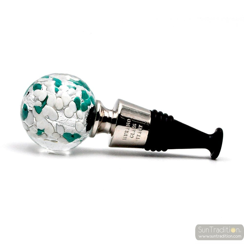 WHITE, GREEN AND SILVER MURANO GLASS BOTTLE CAP