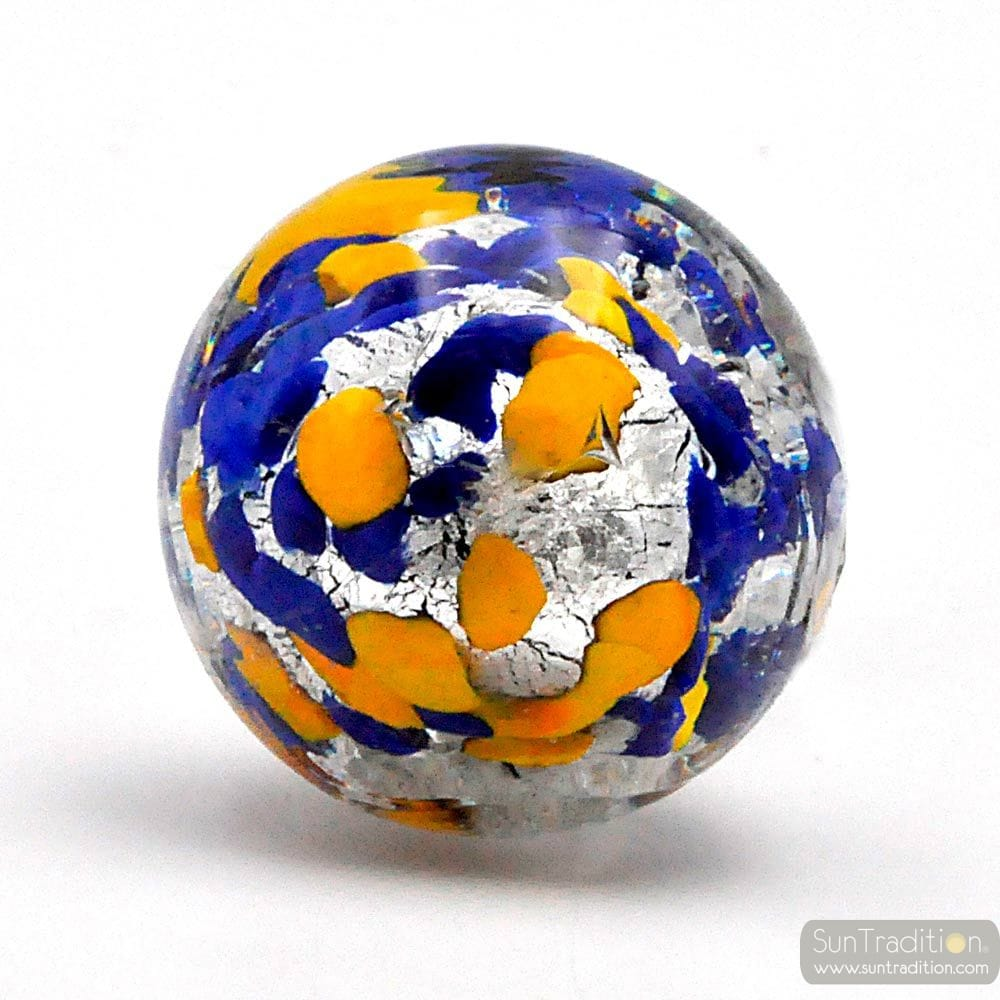 BLUE, YELLOW AND SILVER MURANO GLASS BOTTLE CAP