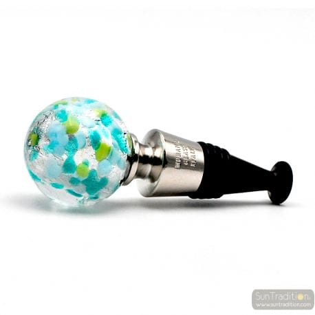 BLUE, GREEN AND SILVER MURANO GLASS BOTTLE CAP