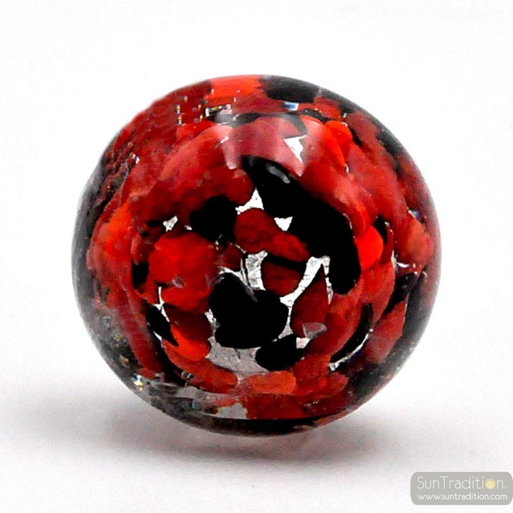 RED, BLACK AND SILVER MURANO GLASS BOTTLE CAP