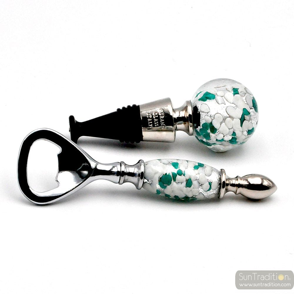 WHITE, GREEN AND SILVER MURANO GLASS BOTTLE OPENER AND CAP KIT