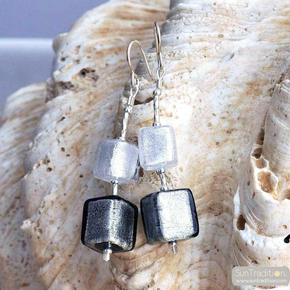 GRADIANT SILVER CUBES - SILVER CUBES MURANO GLASS DROP EARRINGS VENICE