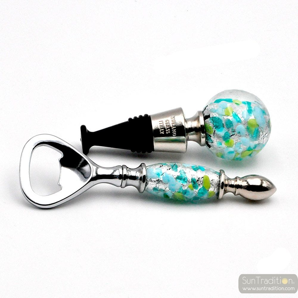 BLUE, GREEN AND SILVER MURANO GLASS BOTTLE OPENER AND CAP KIT