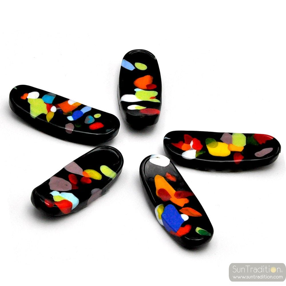 DOOR KNIVES AND CHOPSTICKS BLACK SPOTTED, MURANO GLASS