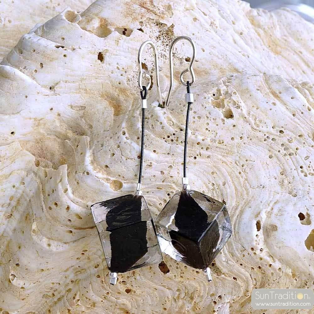 RUMBA PENDANT BLACK - CUBIC PEARLS BLACK MURANO GLASS DROP EARRINGS VENICE