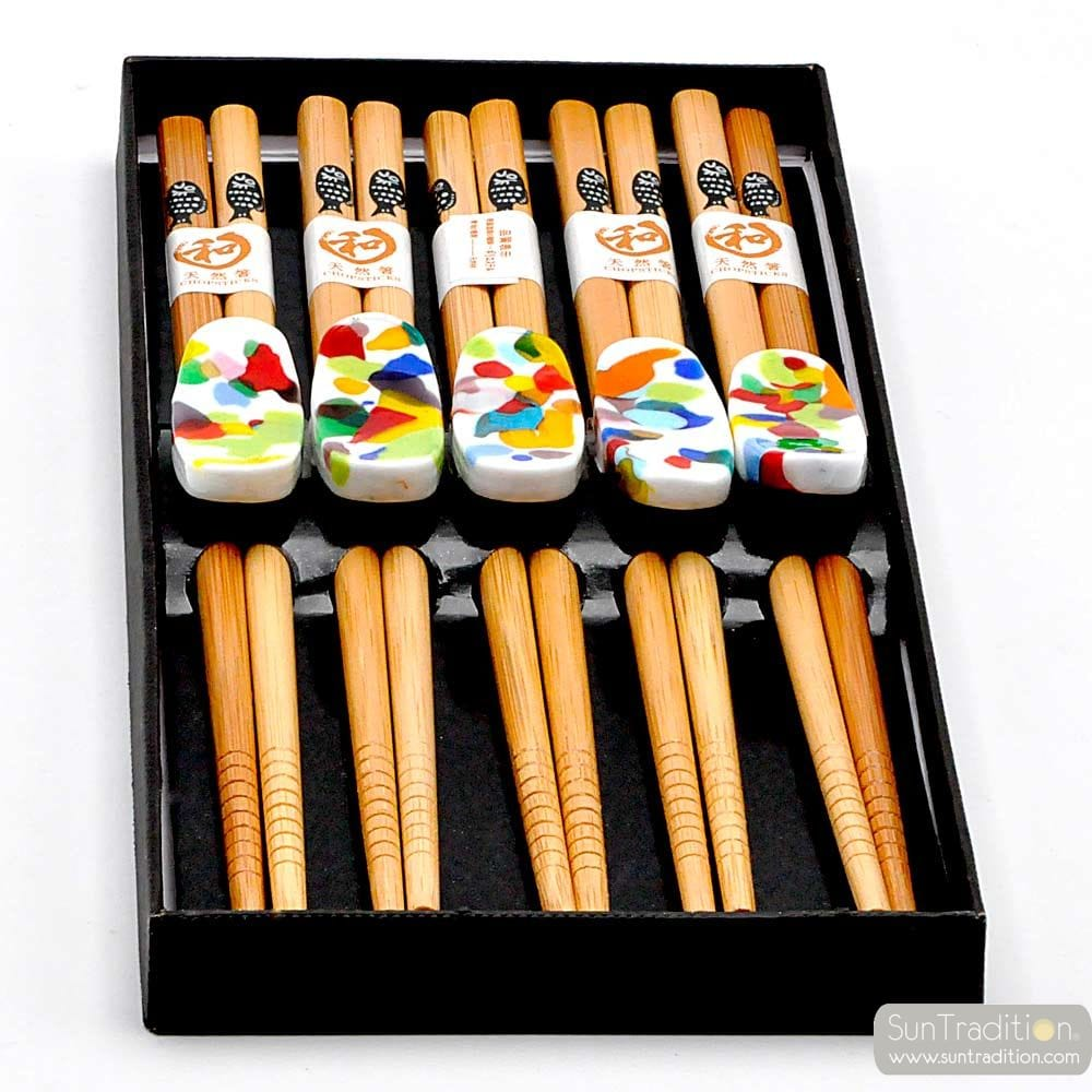 5 KNIVES AND CHOPSTICKS HOLDERS WHITE SPOTTED MURANO GLASS