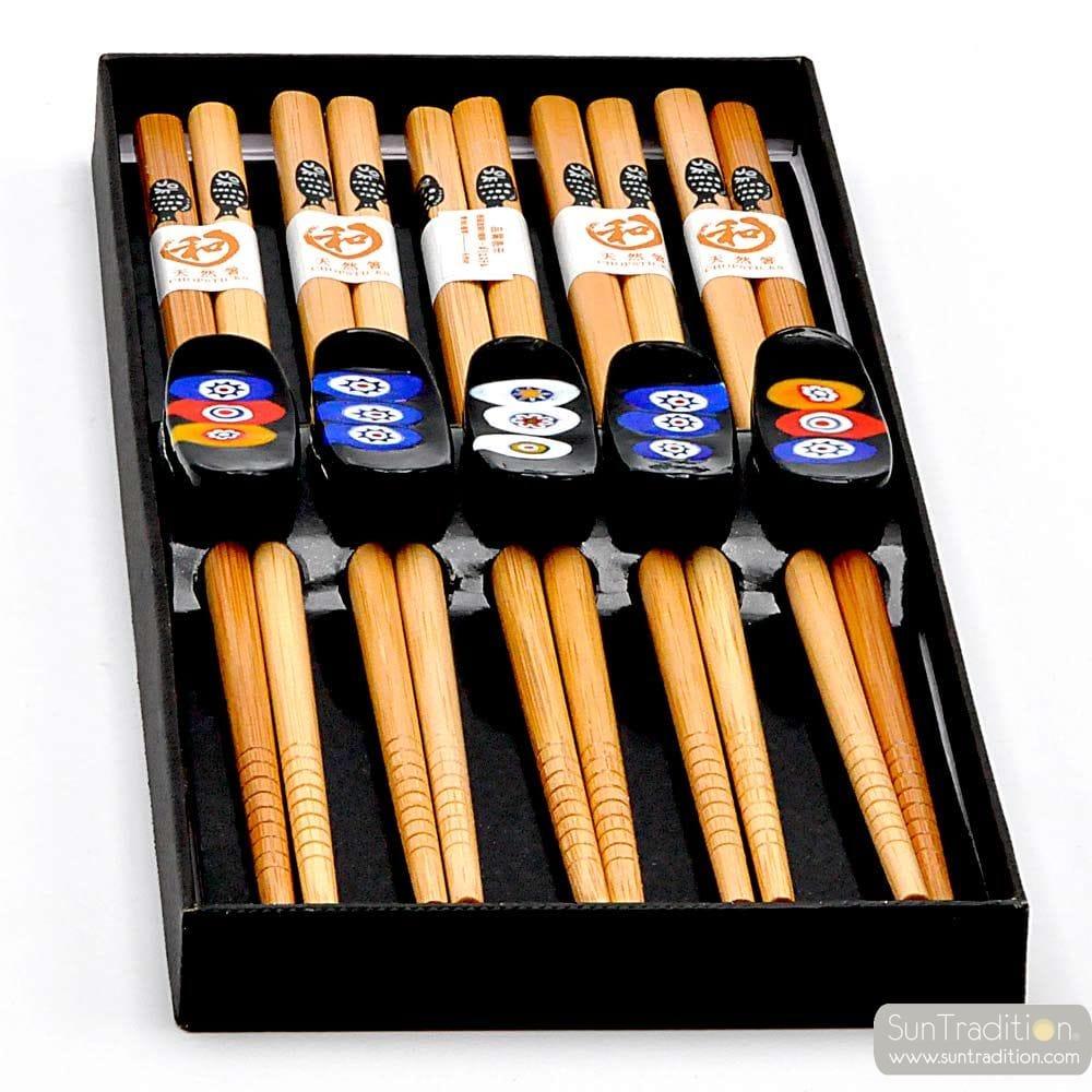 5 KNIVES AND CHOPSTICKS HOLDERS BLACK MILLEFIORI MURANO GLASS