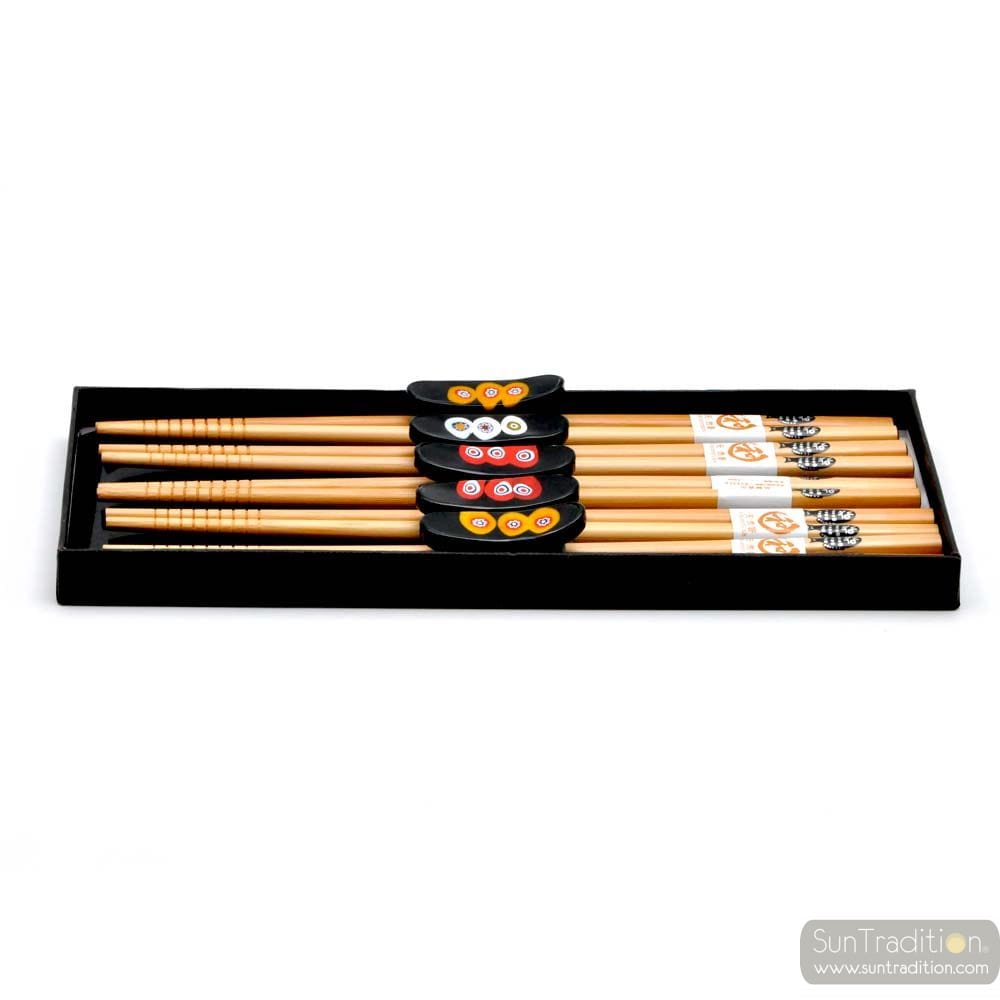 5 BLACK RED AND YELLOW MILLEFIORI KNIFE AND CHOPSTICK HOLDERS IN MURANO GLASS