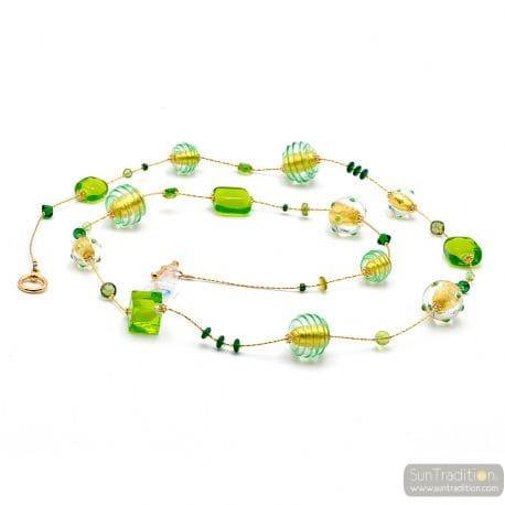 CHOKER NECKLACE LONG GREEN MURANO GLASS OF VENICE