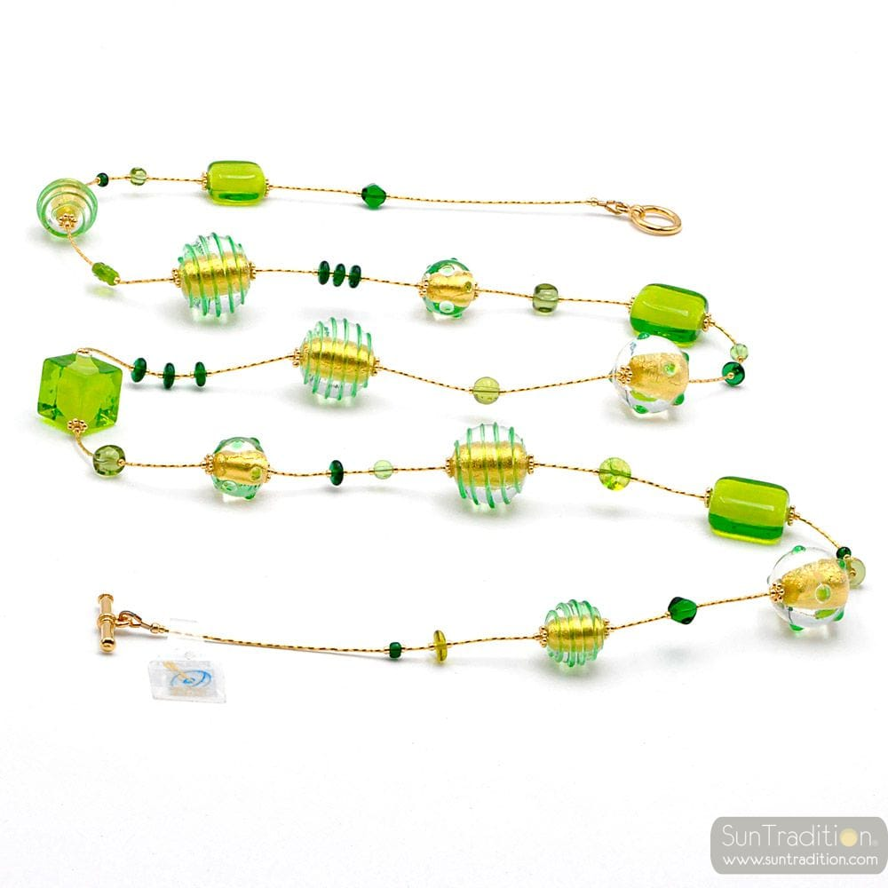 NECKLACE LONG GREEN MURANO GLASS OF VENICE