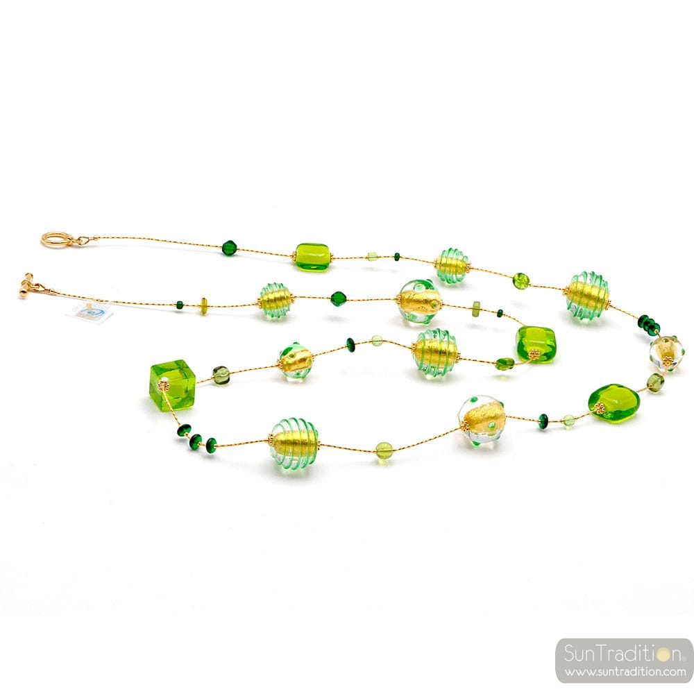 LONG NECKLACE GREEN MURANO GLASS OF VENICE
