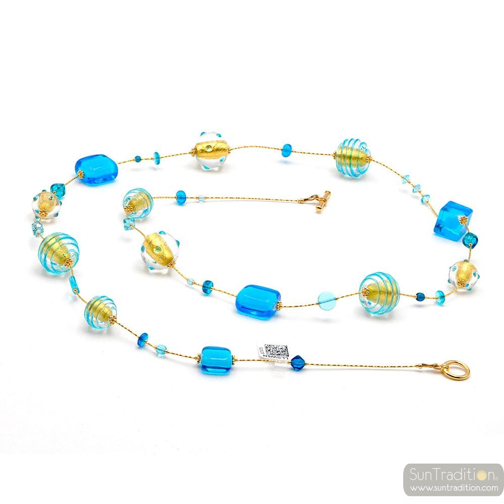 CHOKER NECKLACE LONG BLUE MURANO GLASS OF VENICE