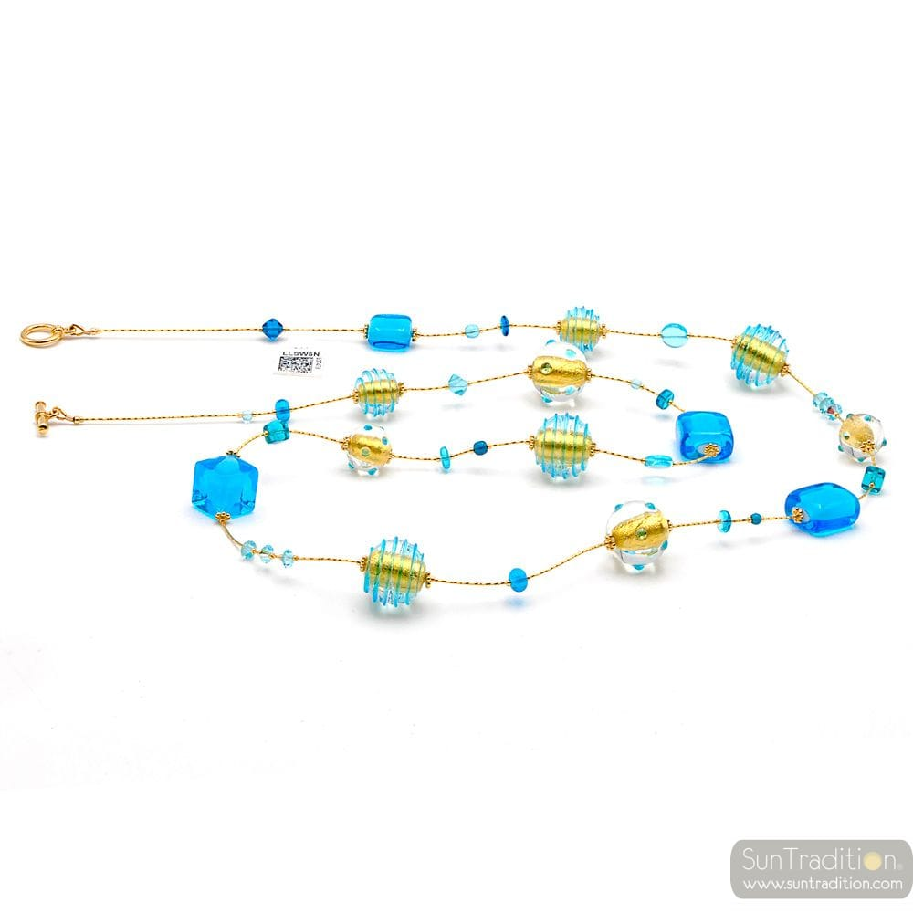 LONG NECKLACE BLUE MURANO GLASS OF VENICE