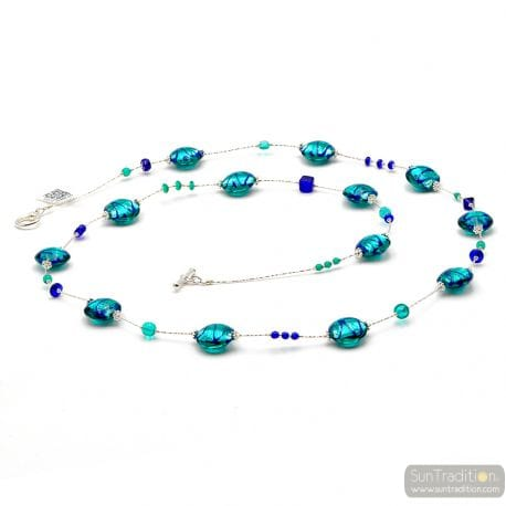 BLUE MURANO GLASS LONG NECKLACE GENUINE FROM VENICE