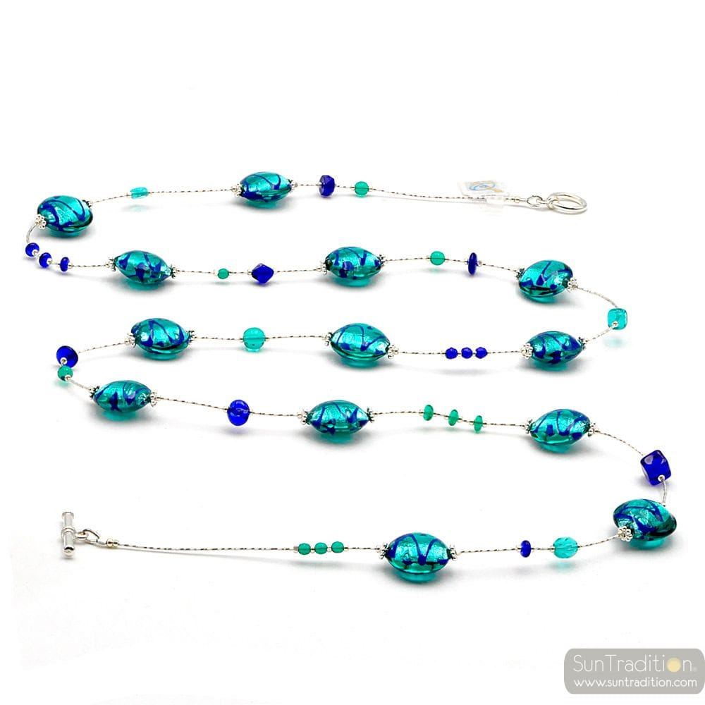 LONG BLUE MURANO GLASS NECKLACE GENUINE FROM VENICE