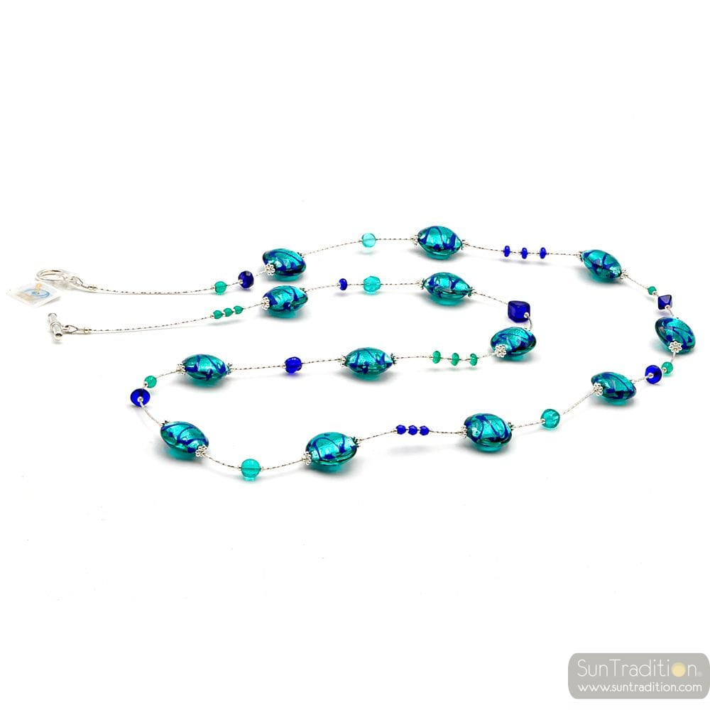 LAPIS BLUE MURANO GLASS LONG NECKLACE GENUINE FROM VENICE