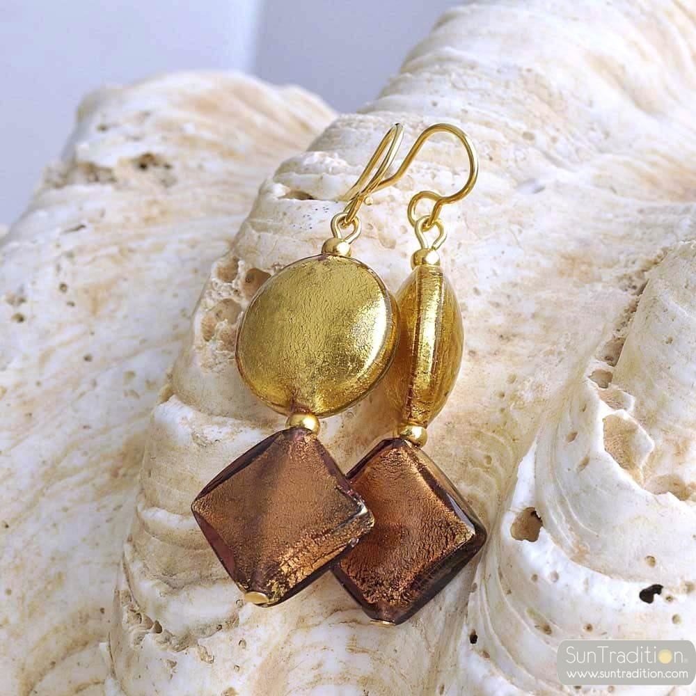 GOLD MURANO GLASS PENDANT EARRINGS