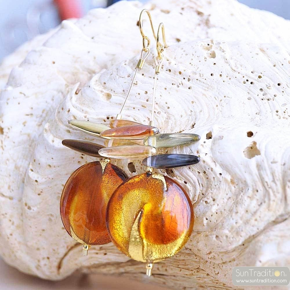 ALBATROSS AMBER - AMBER MURANO GLASS DROP EARRINGS GENUINE VENITIAN GLASS VENICE