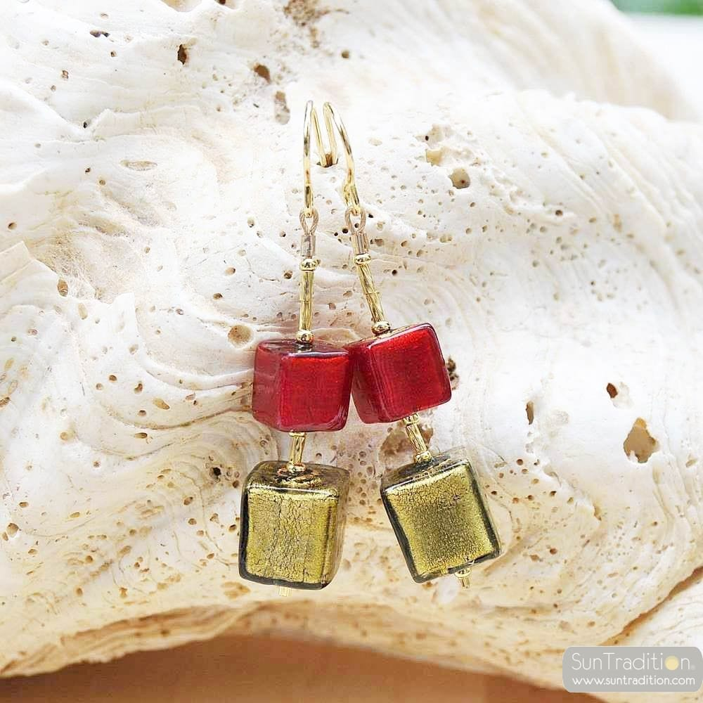 RED AND GREEN CUBE DEGRADED EARRINGS GENUINE VENICE MURANO GLASS