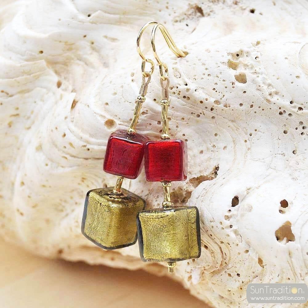 RED MURANO GLASS EARRINGS