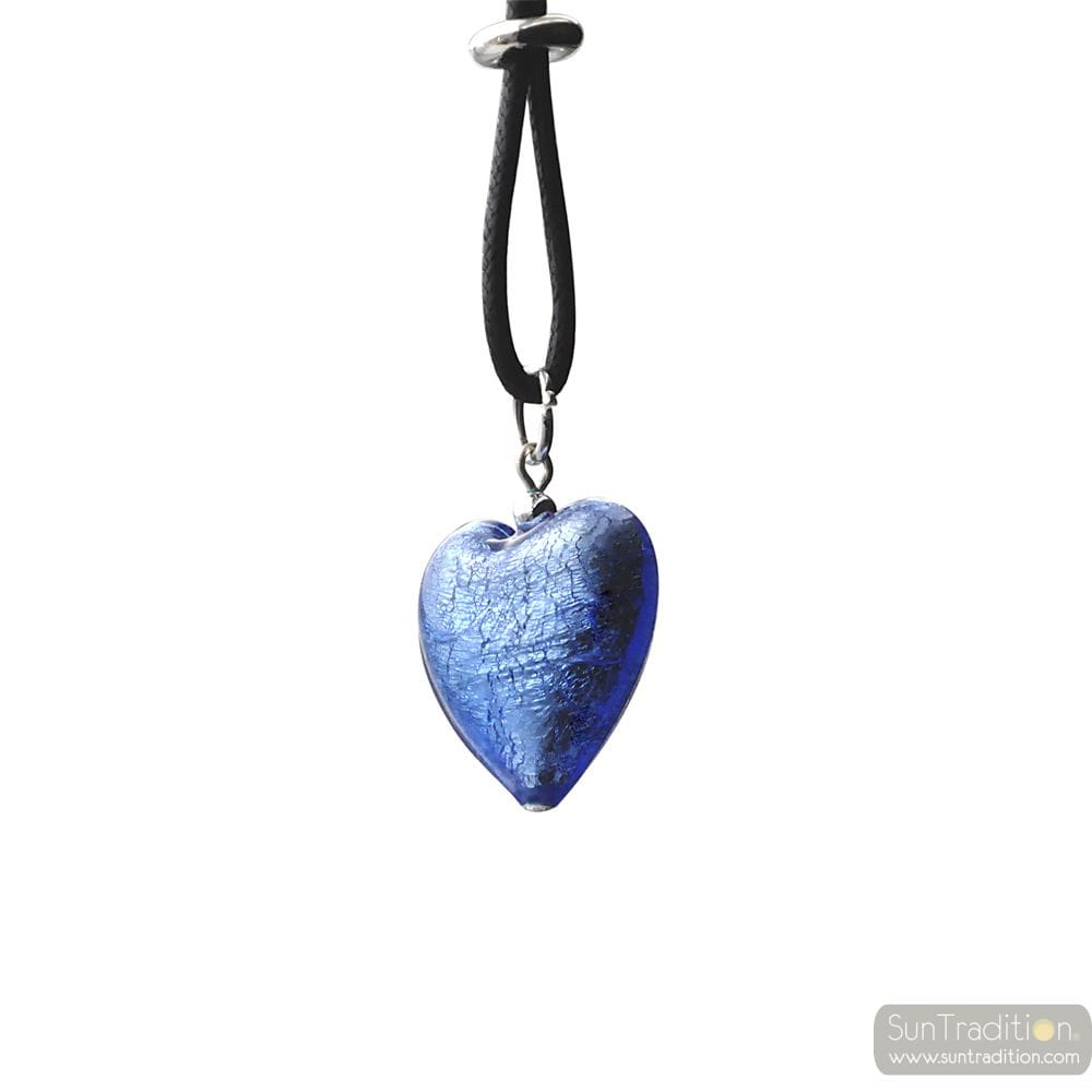 PENDANT MURANO GLASS HEART BLUE