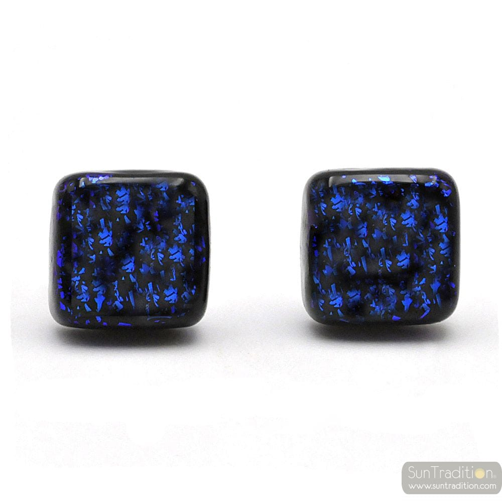 STUD SQUARE BLUE AND BLACK EARRINGS GENUINE GLASS OF MURANO FROM VENICE