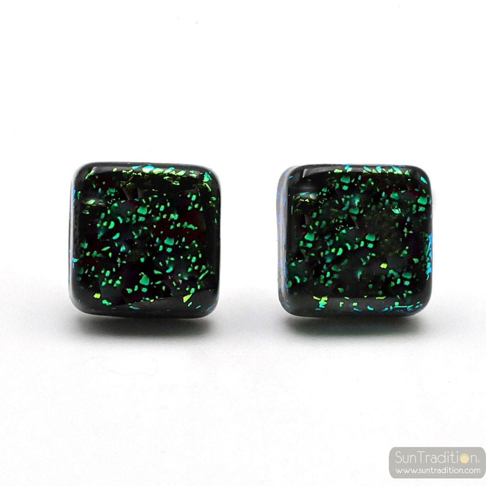 STUD SQUARE GREEN AND BLACK EARRINGS IN GENUINE MURANO GLASS FROM VENICE