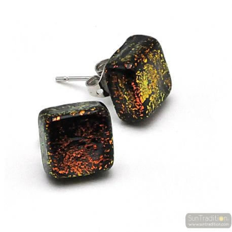 STUD SQUARE GOLD COPPER EARRINGS AND BLACK IN GENUINE MURANO GLASS FROM VENICE