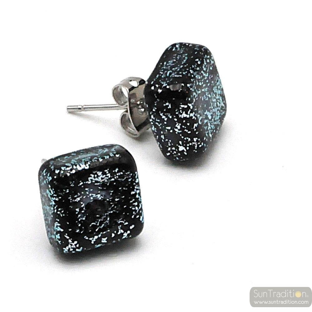STUD SQUARE SILVER AND BLACK EARRINGS IN GENUINE MURANO GLASS FROM VENICE