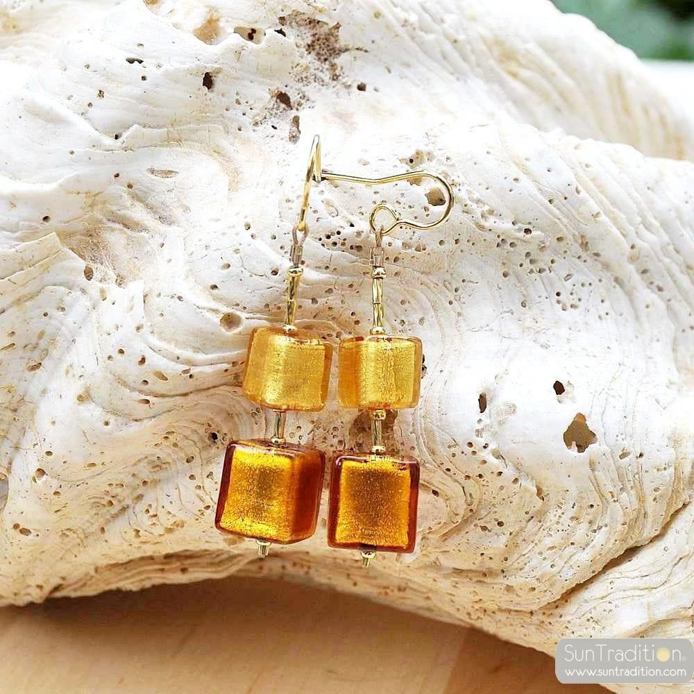 WÜRFEL GOLD SCHATTIERUNGEN - OHRHANGER GOLD GLAS SCHMUCK AUS ECHTEM MURANOGLAS AUS VENEDIG