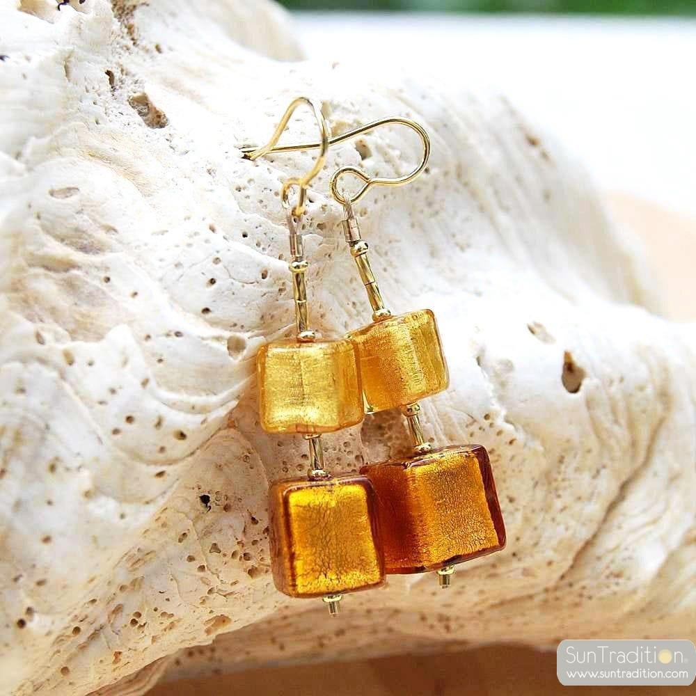 Örhängen DINGLAR GLAS från MURANO GULD
