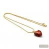 PENDANT SILVER 925 GOLD PLATED 18K AND GOLD HEART MURANO GLASS RED