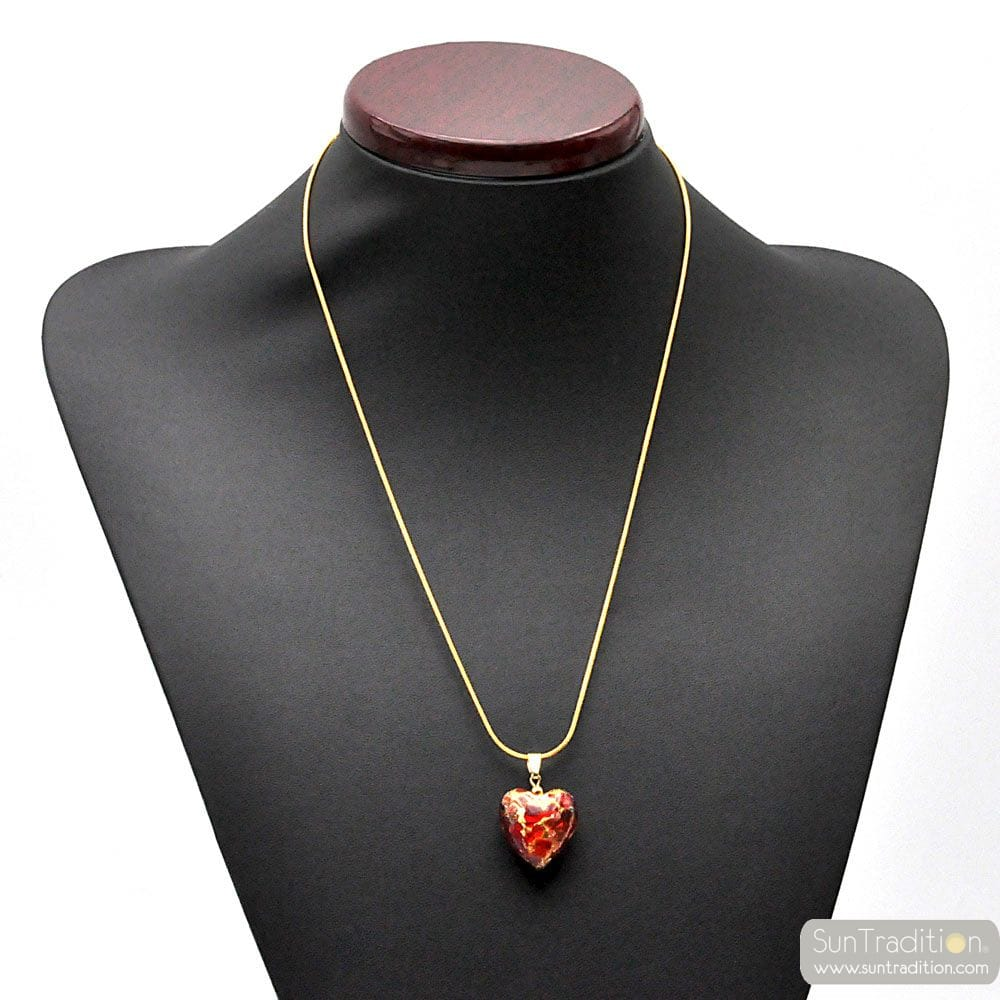 PENDANT IN 925 SILVER PLATE AND GOLD HEART MURANO GLASS RED AND GOLD