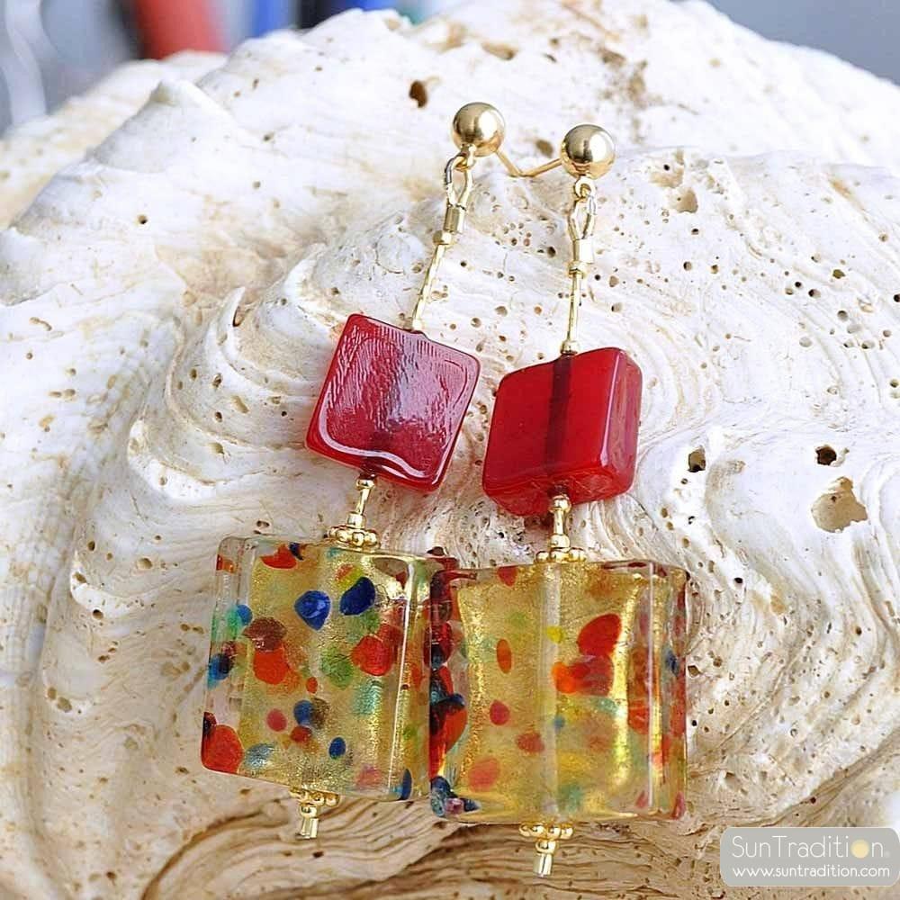 CORIANDOLO RED - RED MURANO GLASS DROP EARRINGS GENUINE VENICE MURANO GLASS