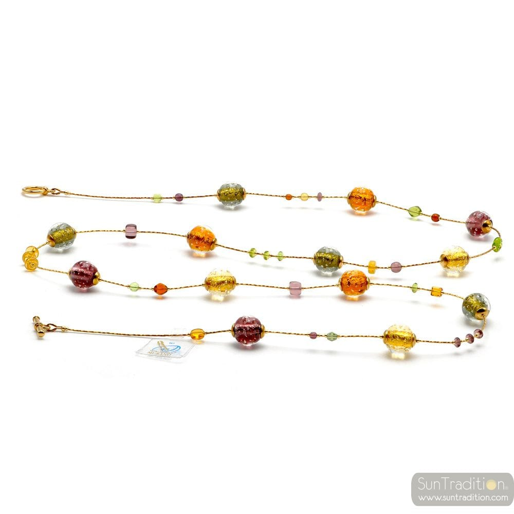 FIZZY AMBER LONG - LONG AMBER MURANO GLASS NECKLACE GENUINE MURANO GLASS