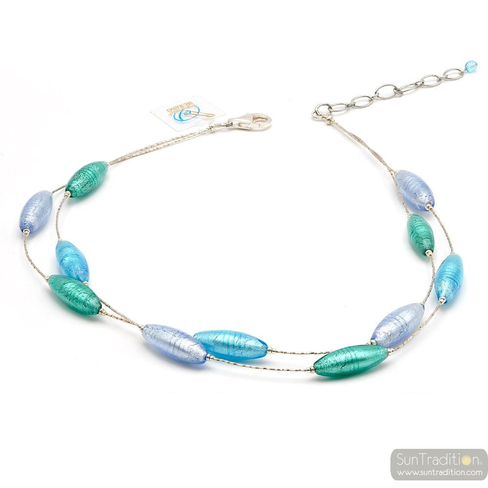 BLUE SILVER MURANO GLASS NECKLACE