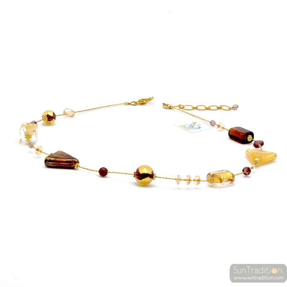 ASTEROIDE AMBER - AMBER MURANO GLASS NECKLACE GOLD GENUINE MURANO GLASS