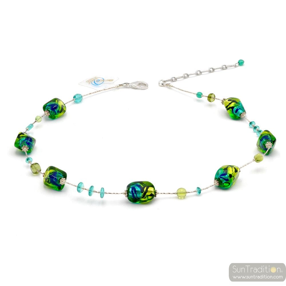 SASSO TWO TONES GREEN - GREEN AND BLUE MURANO GLASS NECKLACE MURANO GLASS