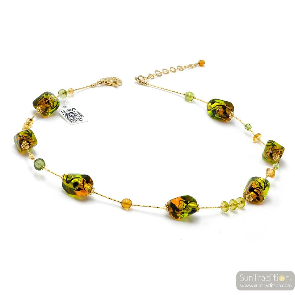 AMBER AND GREEN NECKLACE IN MURANO GLASS