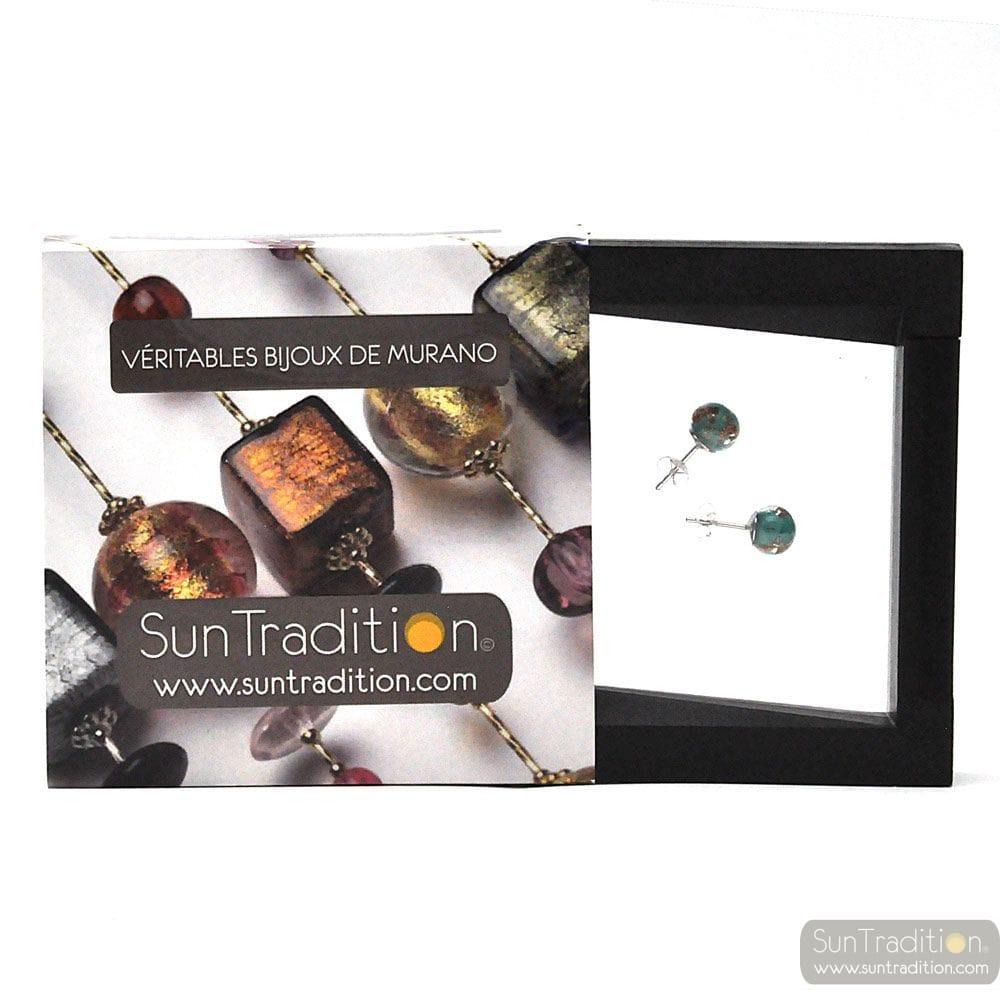 STUD GREEN EMERALD AND AVENTURINE EARRINGS IN GENUINE MURANO GLASS FROM VENICE