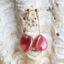 RUBY FLOWER EARRINGS GENUINE VENICE MURANO GLASS