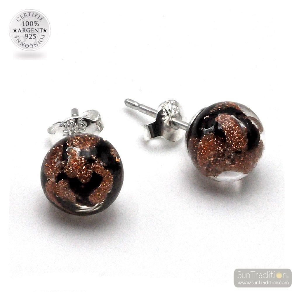 AVENTURINE AND BLACK STUD EARRINGS IN GENUINE MURANO GLASS FROM VENICE