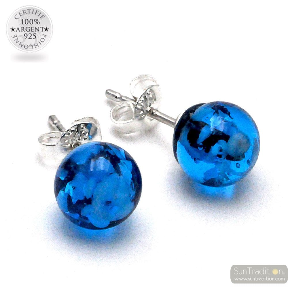 LIGHT BLUE AND BLACK STUD EARRINGS GENUINE GLASS OF MURANO FROM VENICE