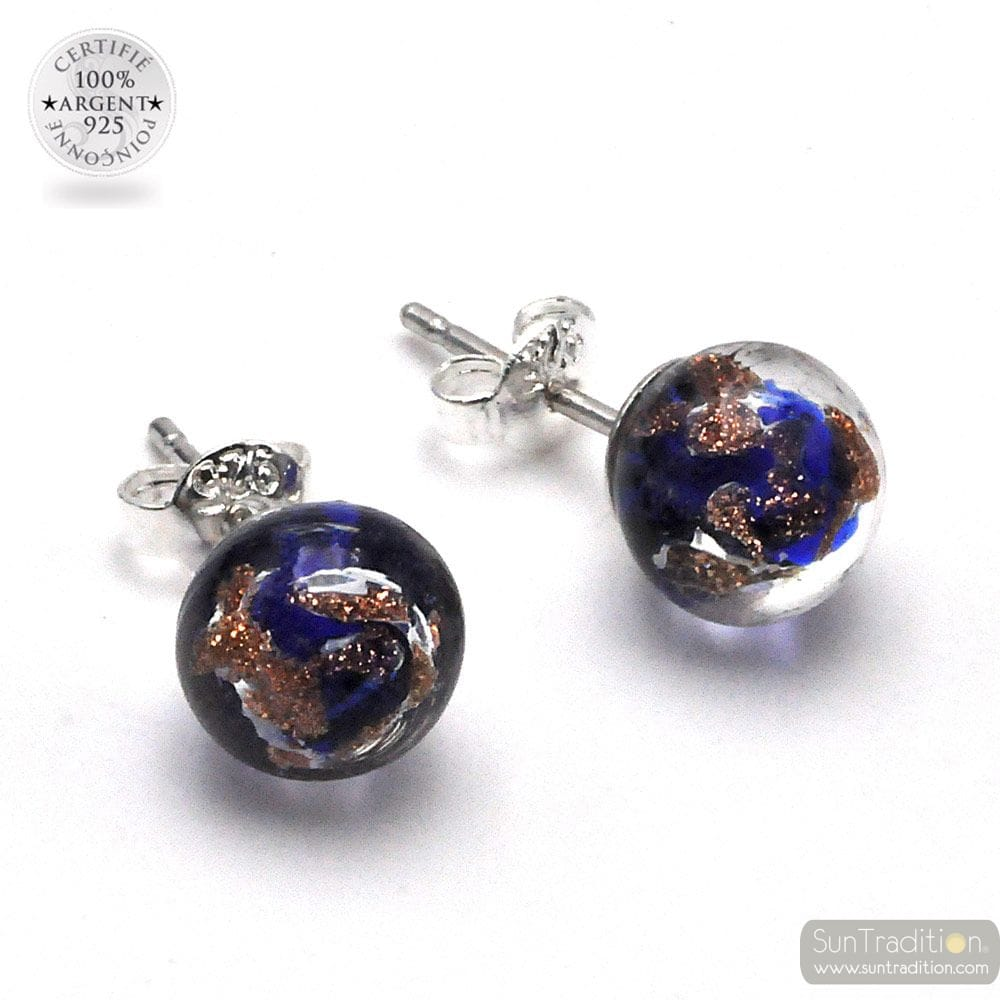 STUD EARRINGS COBALT BLUE AND AVENTURINE IN GENUINE MURANO GLASS OF VENICE
