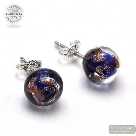 STUD EARRINGS COBALT BLUE AND AVENTURINE IN GENUINE MURANO GLASS OF VENICE