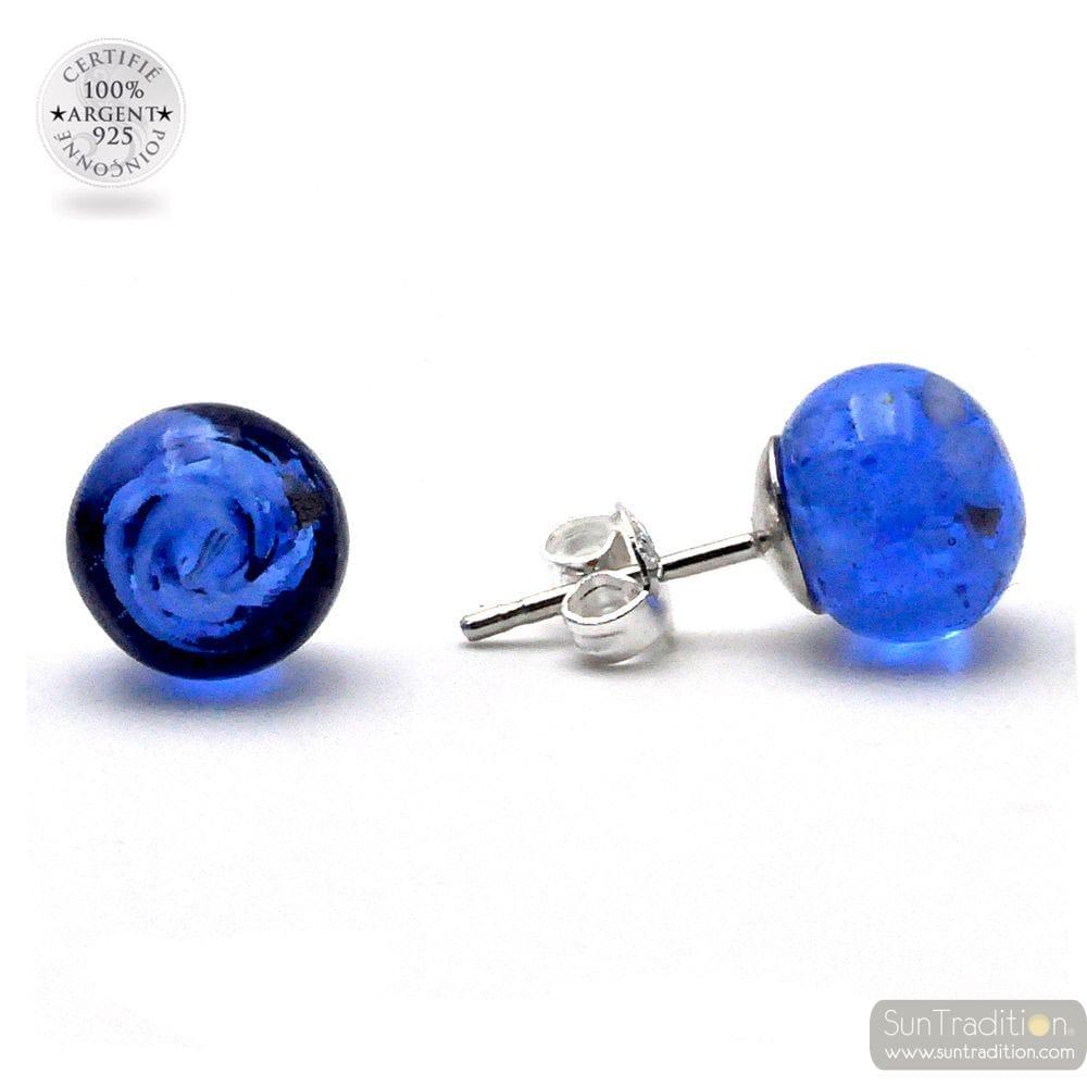 NAVY BLUE NAVY STUD EARRINGS GENUINE MURANO GLASS OF VENICE