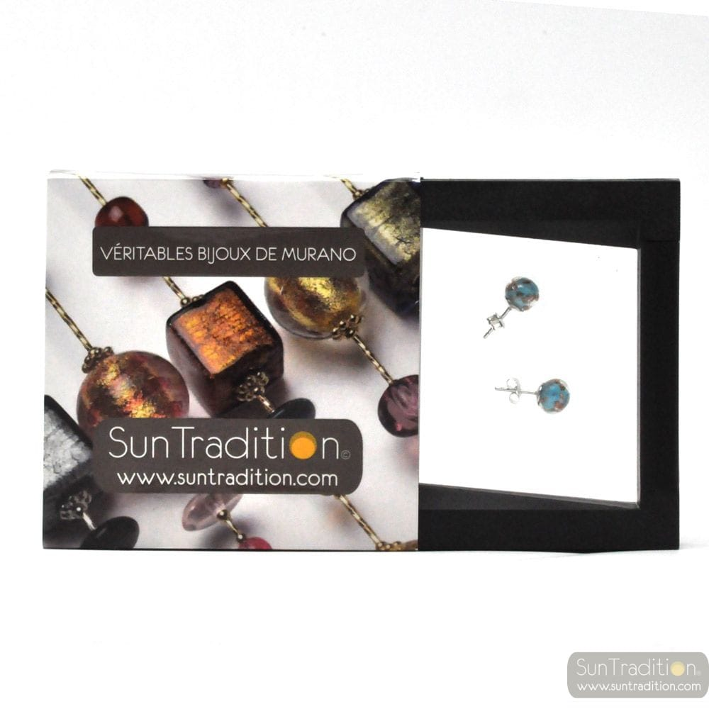 BLUE TURQUOISE AND AVENTURINE STUD EARRINGS IN GENUINE MURANO GLASS FROM VENICE