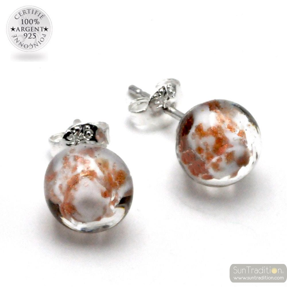 WHITE AND AVENTURINE STUD EARRINGS IN GENUINE MURANO GLASS FROM VENICE