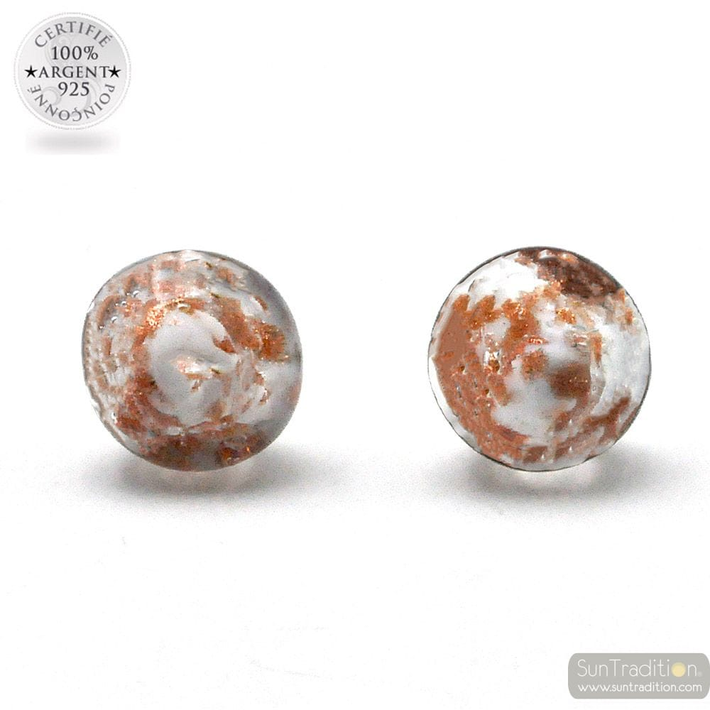 WHITE AND AVENTURINE STUD EARRINGS IN GENUINE MURANO GLASS FROM VENICE